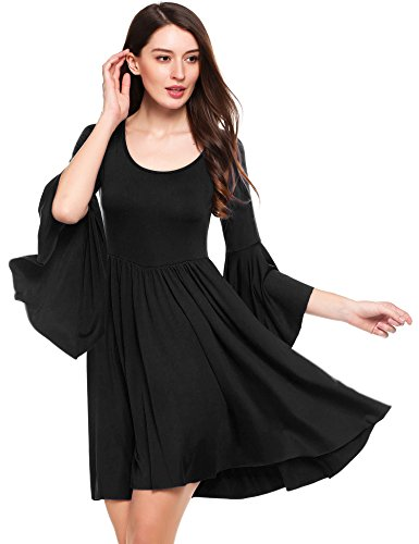 Buy bell sleeve black dress - 1