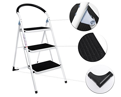 Delxo 3 Step Ladder Folding Step Stool Lightweight Stepladders With Handgrip