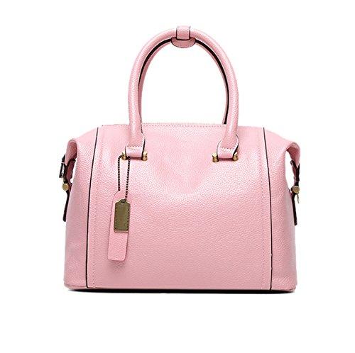 Mujer Moda Estilo Nuevo Bolso De Boston PU clásico De Gama Alta Solo Bolso De Hombro Bolso Bolso De Hombro Inclinado Pink