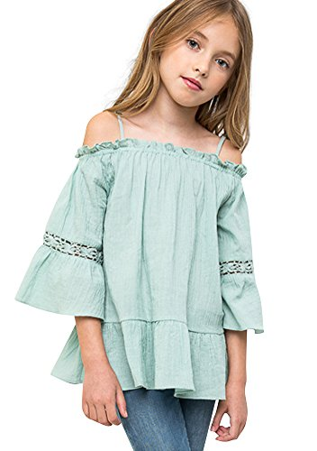 Mrignt Big Girls Cotton Casual Sling Off Shoulder 3/4 Speaker Sleeves Top(S,11-12/Age) (Girls Top)