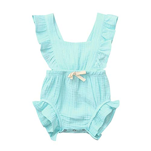 (WOCACHI Toddler Baby Girls Clothes, Newborn Infant Baby Girls Color Solid Ruffles Backcross Romper Bodysuit Outfits Sundress Mom Daughter Son Coverall Layette Sets Best Gift Multi Essentials 0-3M)