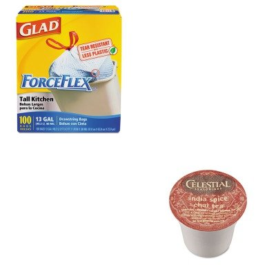 KITCOX70427GMT14738 - Value Kit - Celestial Seasonings India Spice Chai Tea K-Cups (GMT14738) and Glad ForceFlex Tall-Kitchen Drawstring Bags (COX70427)