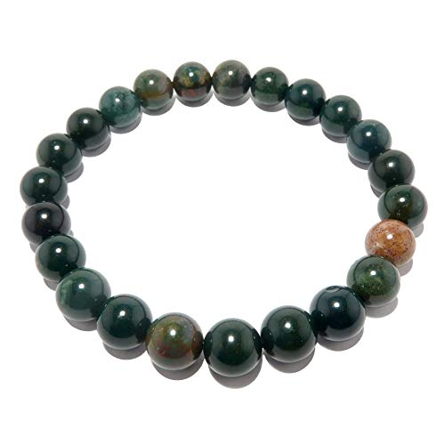 Bloodstone Bracelet 7mm Stretch Genuine Green Red Round Prayer Meditation Gemstone Crystal Healing Energy Stretch B02