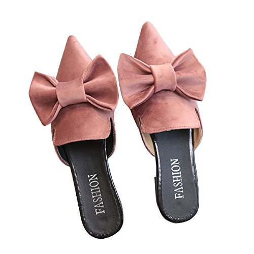 Pink Pointed Toe Women Maybest Mules Slipper Velvet Slippers Bowtie Cute Flat Loafers ZPnOFq