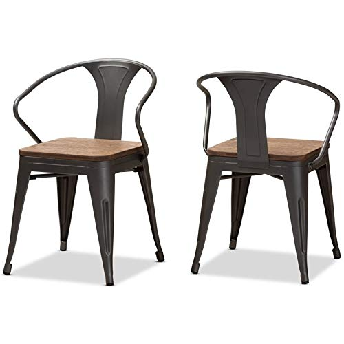 Tolix-Inspired Stackable Side Chair in Oak Brown - Set of 2