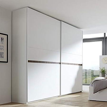 Tousmesmobili - Armario de 2 Puertas correderas, Color Blanco y Nogal Oscuro – Anice n.º 2 – 275 x 64 x 248: Amazon.es: Hogar