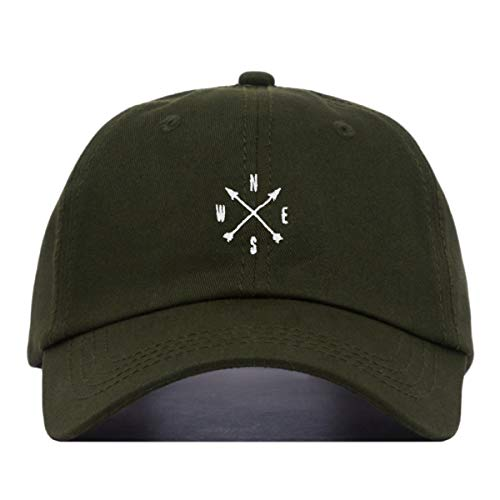 (Compass Baseball Hat, Embroidered Dad Cap, Unstructured Soft Cotton, Adjustable Strap Back (Multiple Colors) (Olive))