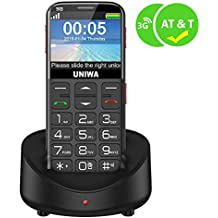 """UNIWA Unlocked Cell Phone 3G Senior Cell Phone WCDMA GSM Cell Phone for Senior Citizen & Kids 2.31"""" Curved Screen Embossed Keyboard Big Button Big Font SOS Emergency Simple Phone with Charging Dock"""