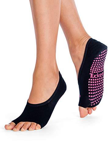 Pilates Ballet Socks for Women, Toeless Non Slip Skid Open Toe Gripper Sock - Pure Barre, Dance (Black, Pink)