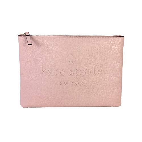 Kate Spade Gia Large Pouch Clutch Bag Leather Logo Embossed Cosmetic Travel Clutch Bag