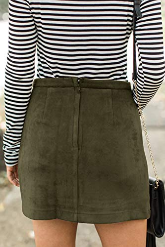 Button Front High Waist Mini Skirt