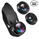 Case of 300 Packs, Phone Camera Lens, 230°Fisheye Lens + 0.65X Super Wide Angle Lens + 15X Macro Lens, Clip on 3 in 1 HD for iPhone Lens Kit for iPhone, Smartphones