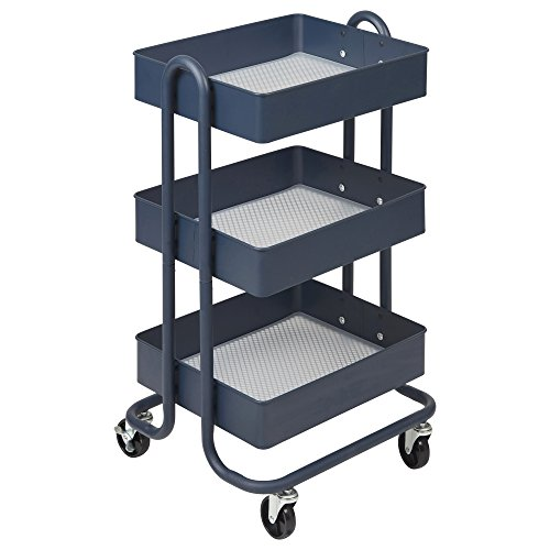 ECR4Kids 3-Tier Metal Rolling Utility Cart - Heavy Duty Mobile Storage Organizer, Navy