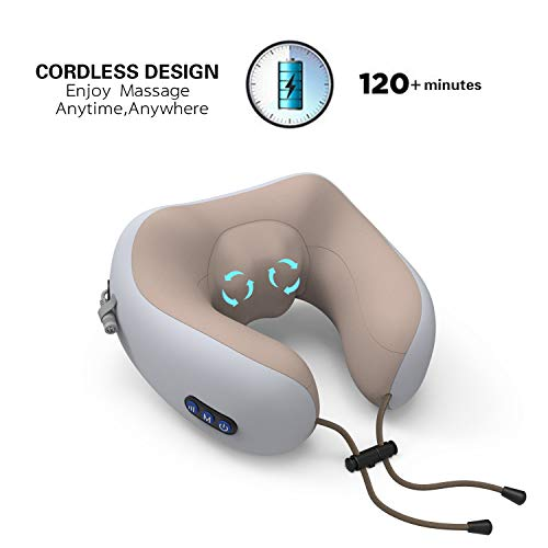 Cordless Neck Vertebra Massage Electric Travel Pillow with Heat - Deep Tissue 3D Kneading Pillow, U-Shaped Memory Foam Electric Neck Massage Relieve Muscle Pain - Office, Home,Airplane& (Best Massagers For Home Cars)