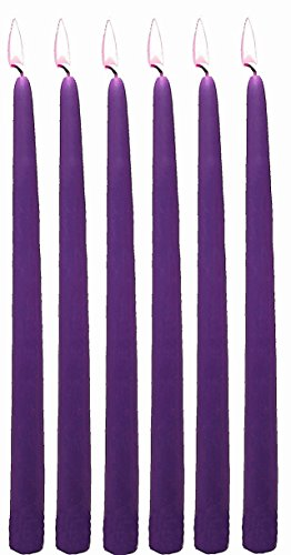 10 Inch Purple Taper Candles Individually Wrapped ( Bulk/144 Pieces), Purple by D'light Online