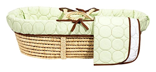 Bacati Quilted Circles Moses Basket, Green/Lime/Chocolate