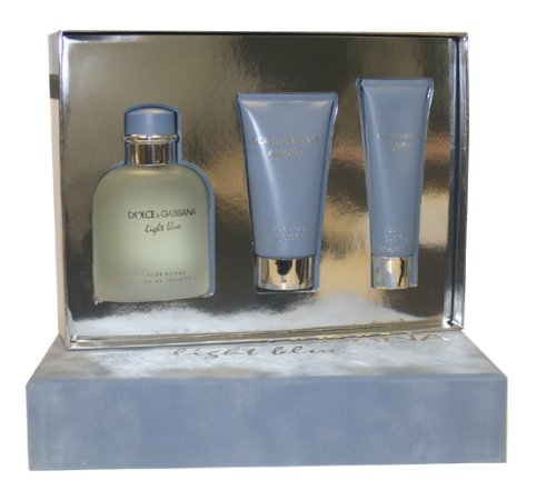 Light Blue Cologne for Men 3pc Set Eau De Toilette Spray 4.2 Oz, Shower Gel 1.6 Oz, After Shave Balm 2.5 Oz by Dolce & Gabbana