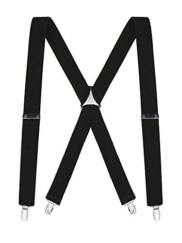 "Buyless Fashion Mens 48"" Elastic Adjustable 1 1/4"" Suspenders In X Shape - 5104-Black"