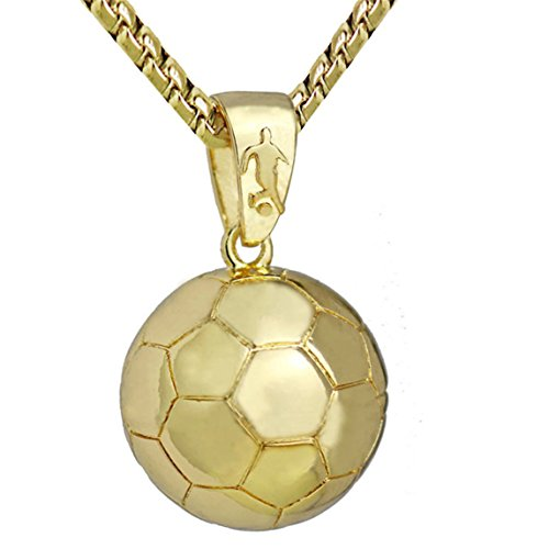 Anklet Soccer (Nadition Fashion Style Necklace Volleyball Basketball Football Soccer Pendant Necklace For Women Men Gif (Gold))