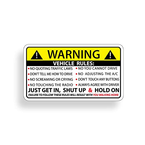 Funny Vehicle Safety Warning Rules Sticker Adhesive Vinyl for Car Truck Window Graphic Bumper (Best Way To Ship A Car Hood)