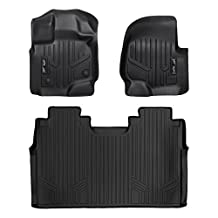 MAXLINER A0167/B0188 Floor Mats for Ford F-150 Super Crew with Front Bench Seats, 2015-2017 Complete Set, Black