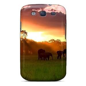 Premium Tpu Herd Of Elephants Cover Skin For Galaxy S3