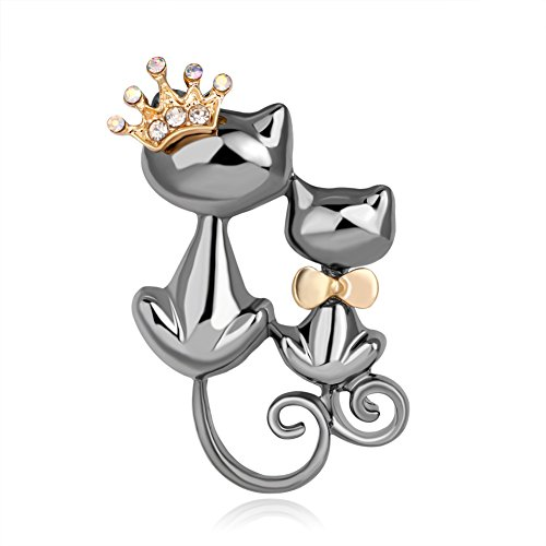 Crystal Shiny Brooch Pin - Holrea Womens Fashion Jewelry Crystal Lapel Brooch Pin Shiny Rhinestone Cute Double Cats Kitten Crown Brooch Collar Pin Corsage Gift for Women Men Backpack Clothing Gun Black