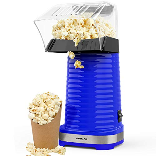 OPOLAR Hot Air Popcorn Popper Electric Machine, Fast Popcorn Maker with Measuring Cup and Removable Top Cover, Ideal for Watching Movies and Holding Parties in Home, Healthy, 1200W, BPA-Free Blue