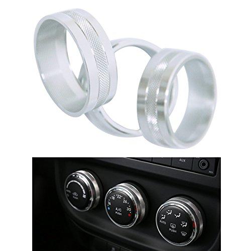 Aluminum Interior Air Conditioner Conditioning Switch Cover Trim Ring for 2011 - 2016 Jeep Wrangler JK JKU Compass Patriot (Silver) - Interior Air Conditioner Cover
