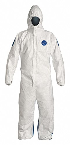Dupont Hooded Disposable Coveralls with Elastic Cuff, Tyvek 400 D Material, White/Blue, 2XL - 1 Each