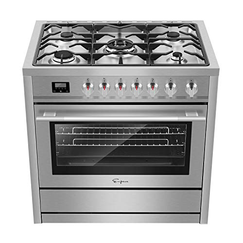 Empava 36″ Freestanding Gas Range with 3.9 cu. ft. Single Oven, 5 Sealed Burner Cooktop, Convection Fan, Cast Iron Grates EMPV-36XGR01, Stainless Steel