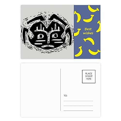 Scary Circle Black Indian Totem Banana Postcard Set Thanks Card Mailing Side 20pcs