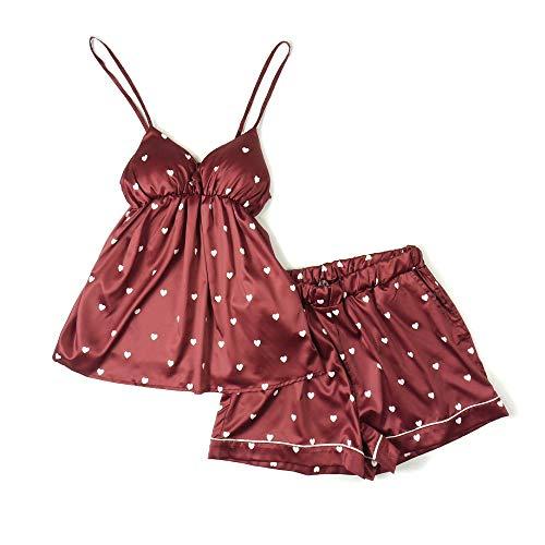 Bretelle La Di Cuore Red Mmllse A Cool Vestiti Forma Sottili Sexy Tuta Casa Pantaloncini Per Pigiama Yqwq7f