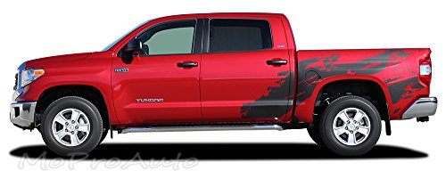 (SHREDDER : 2014 2015 2016 Toyota Tundra Hood and Truck Bed MudSlinger Style Vinyl Graphic Decal Stripes (FITS Crew Max 5.5 Ft Short Beds ONLY) (Color-3M 76 Tomato Red))
