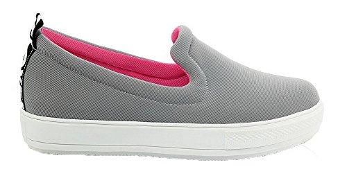 Allhqfashion Damessweater Stevige Pull-on Ronde-neus Lage Hakken Pumps-schoenen Grijs