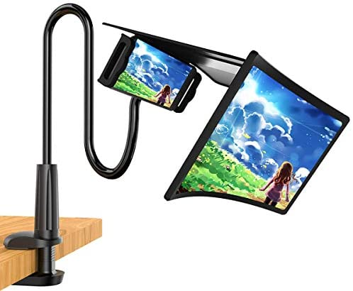 """12"""" 3D Phone Screen Magnifier with Removable Gooseneck Phone Holder, Curve Screen Amplifier Enlarger, Adjustable Clamp Stand, Movie,Video and Gaming HD Screen Magnifying, Compatible All Smartphones"""