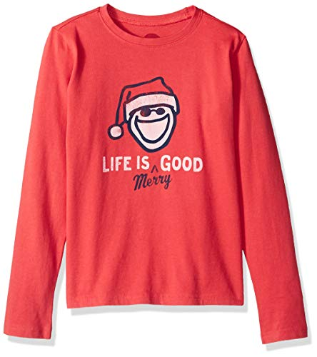 Life is Good Boys Crusher Longsleeve tee Merry Athletic T Shirts, Americana Red, Medium