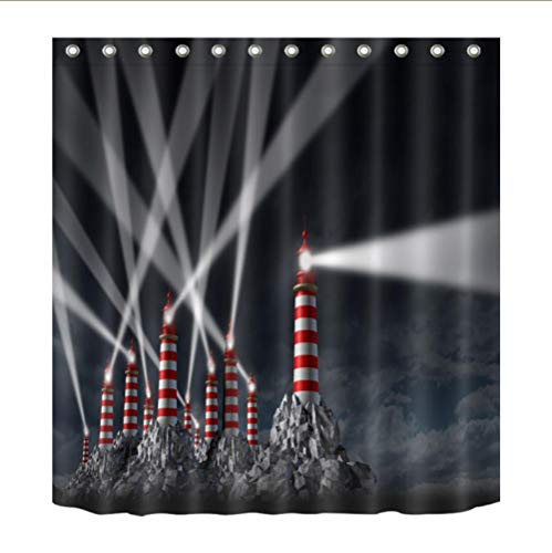 zonxn Shower Curtain 72'' Black Light Shinning Lighthouse Red Tower Buildings Shower Curtains Set Bathroom Curtain Fabric for Bathtub Home Decor-72inX78in