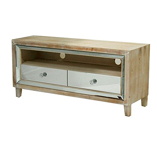 Heather Ann Creations The Avery Collection Modern Style Wooden Mirrored 2 Drawer Living Room TV Stand, White Wash