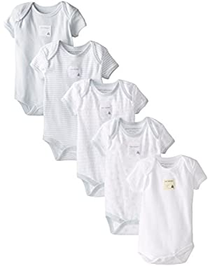 Girls' Set of 5 Essentials Short Sleeve Bodysuits, 100% Organic Cotton