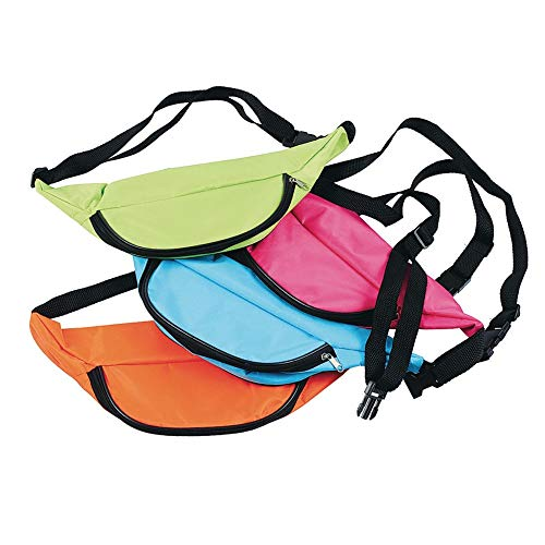 U.S. Toy Assorted Neon Color Adjustable Fanny Packs (12)