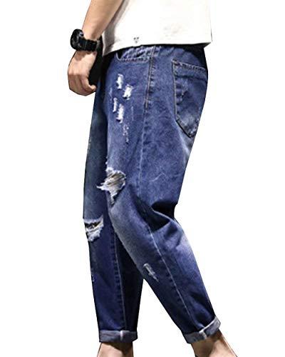 Di Vintage Dunkelblau Distrutti Pantaloni Strappati Da Lanceyy Uomo Jeans Harem Estivi Stile Semplice wIqZxv1