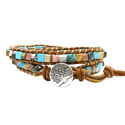 Bonnie Handmade Leather Wrap Bracelet Gemstone Cuff Bangle Women's Leather Bracelet Natural Stone 2 Wrap (Turquoise&Picture Jasper Beads)