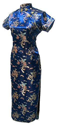 7Fairy Women's Vtg Navy Long Chinese Evening Dress Cheongsam Qipao Size 14 US by 7Fairy