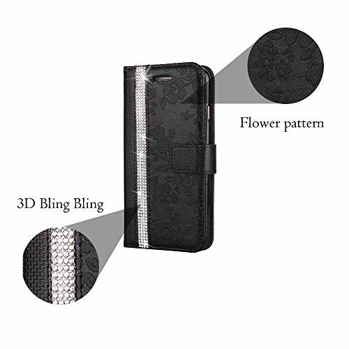 Hülle für Galaxy S6 Edge, Billionn Glitzer Diamant Blume Muster PU Leder Flip Hülle Tasche Schutzhülle mit Standfunktion für Samsung Galaxy S6 Edge Rosa Schwarz
