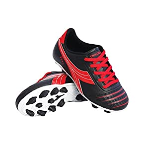 Diadora Kid's Cattura MD Jr Soccer Cleats (11.5 M US Little Kid, Black/Red)