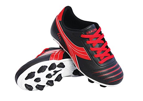 Diadora Kid's Cattura MD Jr Soccer Cleats (10.5 M US Little Kid, Black/Red)
