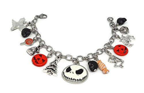 Halloween stainless steel charm bracelet - Pumpkin Jack O'Lantern - Nightmare before Christmas jewelry