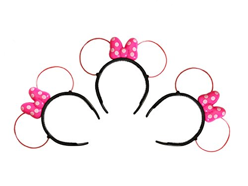 LED Minnie Mouse Ears and Headband in Pink Color with Polka Dots - Set of 3!
