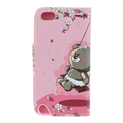 Ecoway Para Apple iPod Touch 5G / 6G(5 / 6 Generation) Funda, Serie pintada Caja del teléfono de moda (Gatos) PU Leather Cubierta , Función de Soporte Billetera con Tapa para Tarjetas Soporte para Tel Pareja Bear